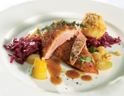 Free-Range duck with semolina dumplings and red cabbage and quince