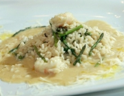 Spargelrisotto mit Scampi