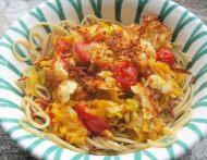 Spaghetti mit Kürbis und Halloumi