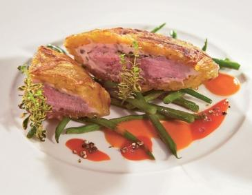Roast lamb in a potato fritter jacket