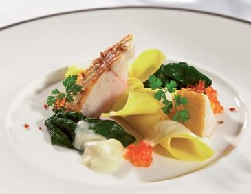 """Trout Quartet"" with freshwater trout, noodles, spinach and trout caviar"