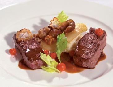 Venison with rowan berries and chestnut pears