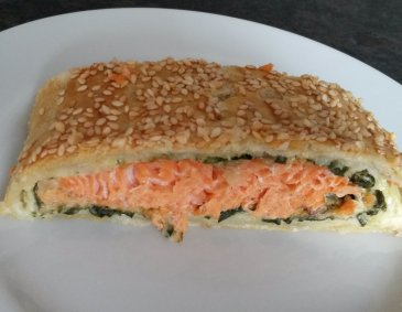 Lachs-Spinat-Strudel