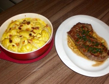 Rumpsteak mit Chilibutter und Karfiolgratin