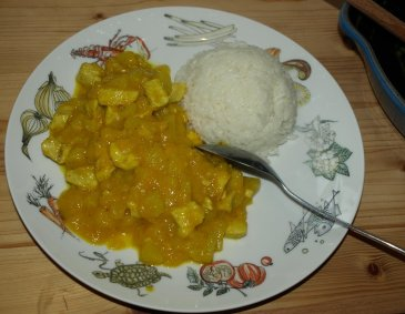Mango-Ananas-Huhn mit Curry