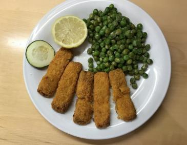 Mozzarella Sticks mit Erbsen
