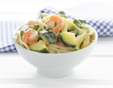 One Pot Pasta mit Shrimps