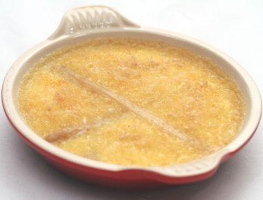 Crème brulee s šparglji