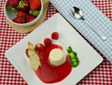 Jogurtova panakota z metinim pestom in jagodno omako