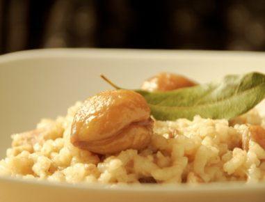 Rižota z maroni in grozdjem