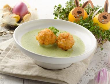 Krešina juha z ocvrtimi kroglicami iz kozic