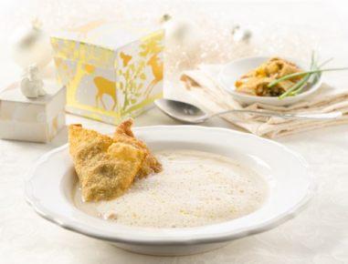 Kremna juha s kostanjem in žepki z gobicami