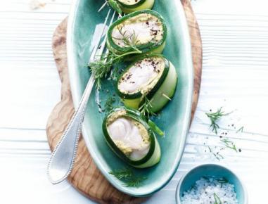 zucchini fisch r llchen mit senfcreme aus dem dampfgarer rezept. Black Bedroom Furniture Sets. Home Design Ideas