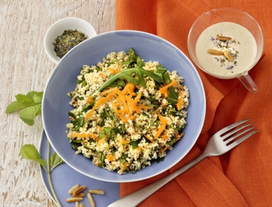 couscous kr uter salat mit kichererbsen joghurtsauce rezept. Black Bedroom Furniture Sets. Home Design Ideas