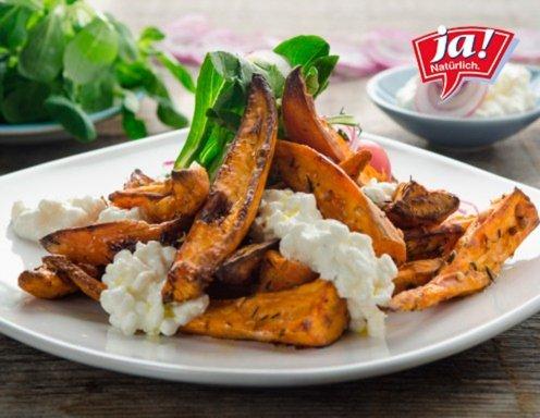 Ofengebackene Süßkartoffel Wedges Mit Vogerlsalat Rezept Ichkocheat