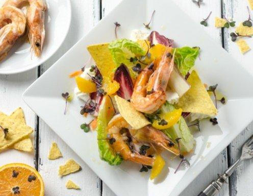 orangen karotten chicor e salat mit garnelen rezept. Black Bedroom Furniture Sets. Home Design Ideas