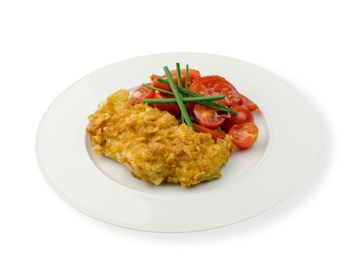 Scholle in Cornflakes-Panade mit Tomatensalat