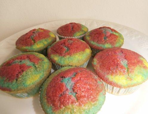 rezept regenbogen muffins