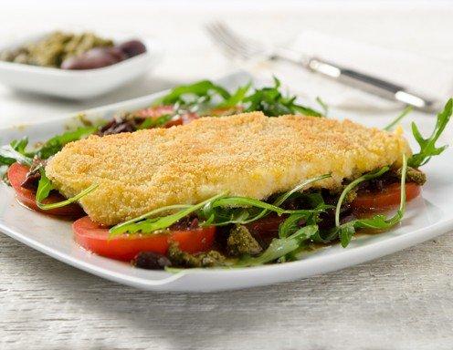 Gebackene Scholle Mit Bärlauch Pesto Und Salat Rezept Ichkocheat