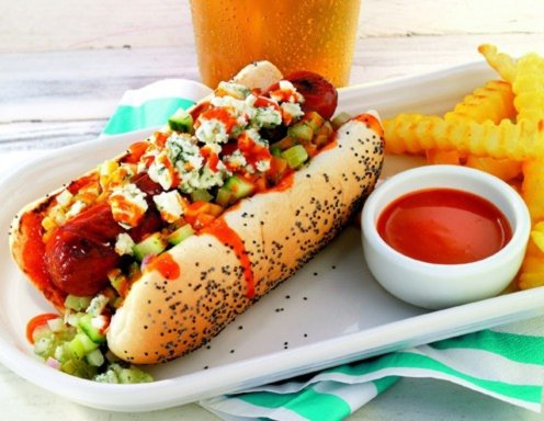 Scharfe Buffalo Hot Dogs