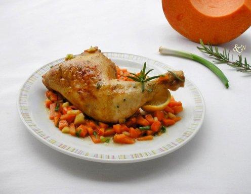 Süß Saure Hühnerkeule Mit Kürbis Und Zucchini Rezept Ichkocheat
