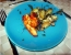 Koromač in rabarbara z dimljenim sirom Halloumi